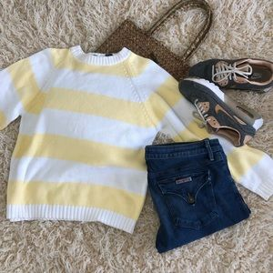 Striped nordstrom sweater pastel yellow cotton